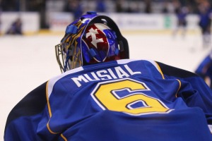 St. Louis Blues players wore a special jersey to honor Stan Musial during warm-ups