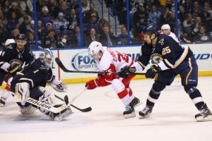 Cory Emmerton #25 of the Detroit Red Wings scores a goal