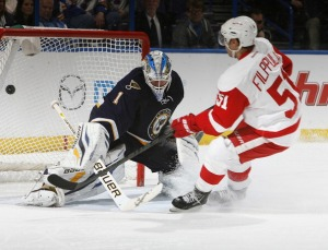 Valtteri Filppula #51 of the Detroit Red Wings scores a goal