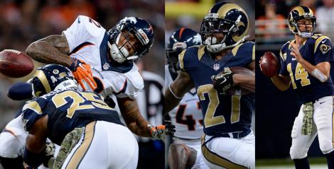 Rams stun Broncos, 22-7.